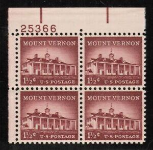 US USA Sc# 1032 MNH FVF PL# BLOCK Mount Vernon Fairfax County Virginia Potomac