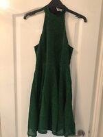 River Island Emerald Green Sparkly Glitter Halter Skater Dress - Size 8