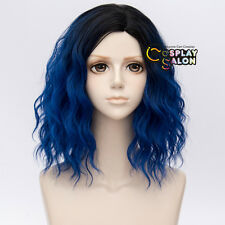 35CM Lolita Ombre Black Mixed Royal Blue Fluffy Cosplay Wig Heat Resistant+Cap