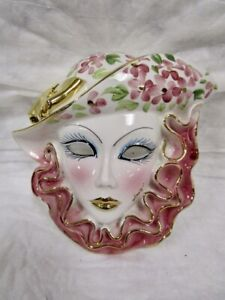 Porcelain  Ceramic  Painted  Wall Hanging  Upscale Woman  Face Mask  -  Italy