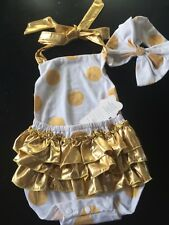 BABY GIRLS FANCY. WHITE GOLD RUFFLED ROMPER 3PIECE OUTFIT CAKE SMASH PHOTO PROP