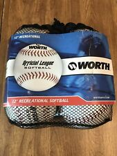 "Worth Wcs 12"" Official League Softball White 4 pack with bag Wcs12"