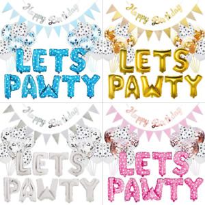 Lets Pawty Pet Dog Birthday Party Supplies Balloons Banner Paw Print Decor DIY