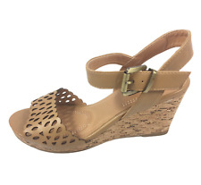 Womens Ladies Tan Faux Leather High Wedge Heel Summer Shoes Sandals Size 6 New