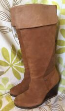 UGGS RAVENNA LADIES KNEE HIGH SUEDE LEATHER WEDGE BOOTS size 5.5 UK 38 EUR