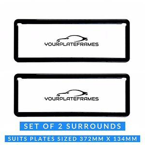 Number Plate Surrounds Frames Black Standard Pair Fits All Australian States