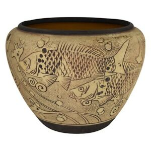 Weller Pottery Burntwood 1910 Large Fish Jardiniere Planter