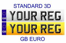 Pair Standard Number Plates GB Euro STANDARD 3D LETTERS 100% Legal FRONT & REAR