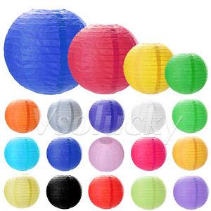 "Round Paper Lantern Lamp Wedding Party Xmas Decor Lot Colors 8"" 10"" 12"" 14"""