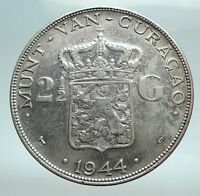 1944 CURACAO Netherlands Kingdom Queen WILHELMINA Silver 2.5 Gulden Coin i82492