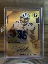 2019 Elements Gold On Card Auto Tony Pollard RC /50 Cowboys