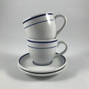 "10 STRAWBERRY STREET ""DINERWARE BLUE"" Set of 2 ESPRESSO CUPS & SAUCERS"