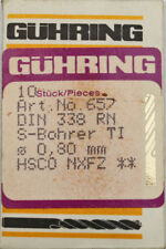 10 pezzi punta trapano elicoidale HSCO gühring D=0,800 mm,657 TI,DIN 338,NUOVO