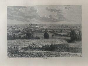 1875 View of Kraków, Poland Original Antique Print