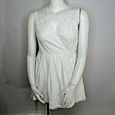 New Asos Mini Wrap Sundress Dress Embroidered Trim Size 12 Summer Cotton