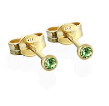 Paar Ohrstecker Gold 333er 2,50mm hellgrün Zirkonia Damen Herren Kinder 6590