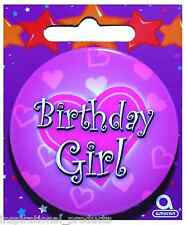 Amscan Pink HAPPY BIRTHDAY GIRL Hearts Round Badge Ladies Novelty 61mm Diameter