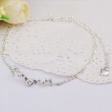 GORGEOUS 925 STERLING SILVER CLEAR CRYSTAL ANKLET