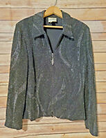 Joseph Ribkoff Vintage Zip Up Black Glitzy Formal Jacket Blazer Womens US 14