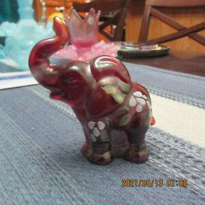 FENTON RED CARNIVAL GLASS ELEPHANT W/ FLOWERS   SIGNES