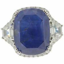 19.95 CT Cushion Intense Blue Ceylon Sapphire Wedding Ring 925 Sterling Silver