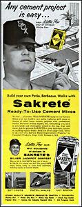 1960 Nellie Fox Chicago White Sox Sakrete Cement vintage photo print Ad  L1