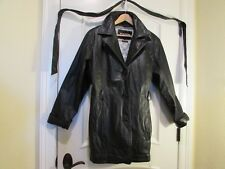 LADIES MENS THINSULATED WILSONS LEATHER BLACK COAT SIZE XL BELT POCKETS MINT