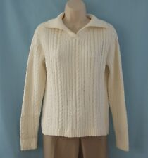 Talbots Natural Color Cotton Blend Cable Knit Sweater Size Medium Med M
