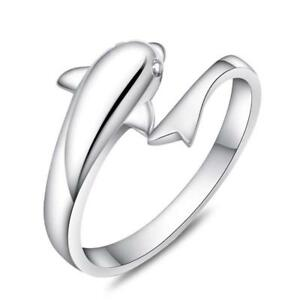 Dolphin Ring Sterling Silver 925 Head Tail Sea Life Jewellery Fashion Accessory