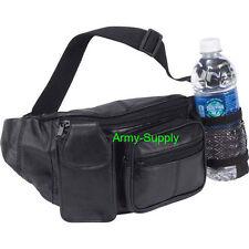 Black Lambskin Leather FANNY PACK Waist Belt Bag BOTTLE HOLDER Purse Hip Pouch
