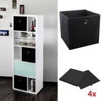 4x Schwarze Faltbox Set Flori Aufbewahrungsbox Büro Zimmer Regal für Raumteiler