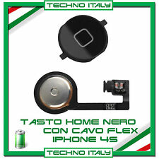 TASTO HOME BUTTON COMPLETO FLAT FLEX PER  IPHONE 4S BOTTONE NERO BLACK