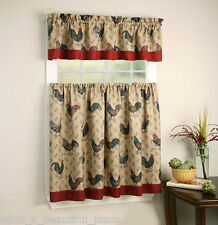 3-Pc French Country Shabby Chic Rooster Tier & Valance Set 54X36 Kitchen Curtain