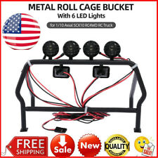 RC Car Truck Parts Metal Roll Cage Bucket 6 LED Light for RC 1/10 Car Parts S4I3