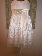 INSPIRE ME Strapless Cocktail PROM Dress~Junior's Sz 3~Creamy white/Gold Glitter
