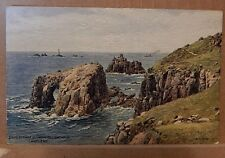 Postcard Lands End And Longships Lighthouse Card of watercolour by.Quinton. RA1