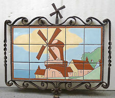 Iron-Framed Vintage Windmill Scenic Panel by Mosaic Tile Co.