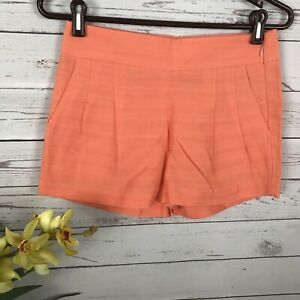 NWT J. Crew Orange Peach Cotton Linen Pleated Shorts Pockets Women's Size 00