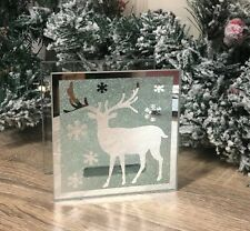 Winter Reindeer Scene Silver MirroredChristmas Glass Tea Light Holder XM1581