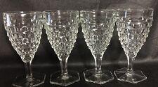 Vintage Fostoria Hex Base 6 7/8 Water Goblet Stemware American Pattern Set Of 4
