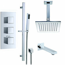 "LED Thermostatic Shower Mixer Valve 12""Square Rain Shower head Slider Bar Set"