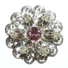 SCSC1904 Light Rose & Crystal & Silver 22mm Flower Swarovski Component 6pc