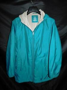 LL Bean M Teal Blue Green Jacket Fleece Lined Coat With Hood Full Zip Womens Md
