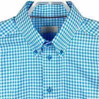 ETON Contemporary Mens Button Down Dress Shirt Aqua Blue Gingham Check 16.5 (42)