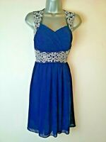 Quiz 10 Blue Silver Fit & Flare Strappy Party Wedding Prom Occasion Dress