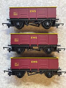 3 X HORNBY R6372 LWB OPEN WAGON EWS TRUCKS OO GAUGE FOR MODEL RAILWAY LAYOUT