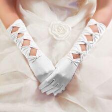 Gants Longs Mariage en Satin à Perles Noeuds (Blanc, Ivoire, ... Mariage Opéra