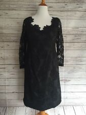 Vintage 1980's Black Floral Lace 3/4 Sleeve Polyester Shift Dress SZ 12