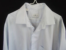 SHIRT STUDIO Mens L/S Blue with a White/Black striped Business Shirt Neck 46