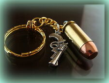Real (40 Caliber) BULLET Keychain (with Gun Pistol Weapon) Jewelry